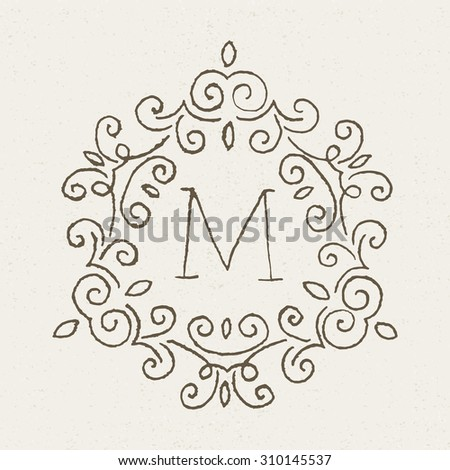 hand drawn design template with letter m monogram identity business sign logo design
