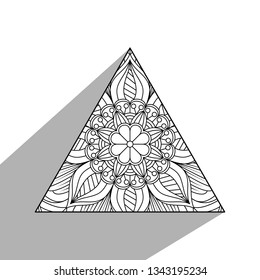 b2b4b0de7ea7f Hand drawn design of Triangle Shape With Mandala design element. Vector  illustration