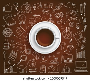 Hand drawn design vector illustration, Coffee with set of business icons in doodle style, for graphic and web design
