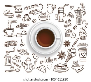 Hand drawn design vector illustration, Coffee cup with set of Coffee drink icons in doodle style, for graphic and web design