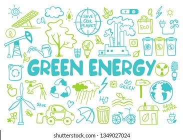 Hand drawn design vector illustration, set green energy icons in doodle style, for graphic and web design