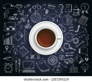 Hand drawn design vector illustration, coffe cup with set of business icons in doodles style, for graphic and web design