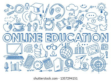 Hand drawn design vector illustration, set of online education icons in doodle style, for graphic and web design