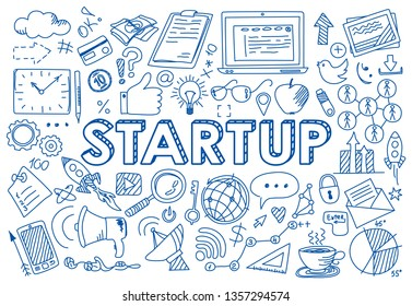 Hand drawn design vector illustration, set of startup concept icons in doodle style, for graphic and web design