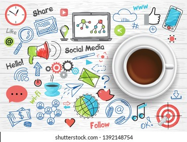 Hand drawn design vector illustration, coffee cup with set of social media and social networking concept icons in doodle style, for graphic and web design
