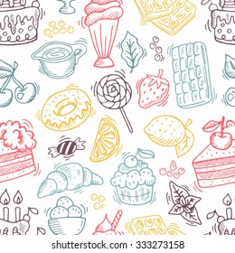 Hand drawn dessert seamless pattern. Can be used for menu, background and other design.