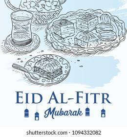 Hand drawn dessert and tea with text Eid al-Fitr Mubarak, the end of Ramadan.