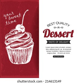 Hand drawn dessert typographical background with place for text.