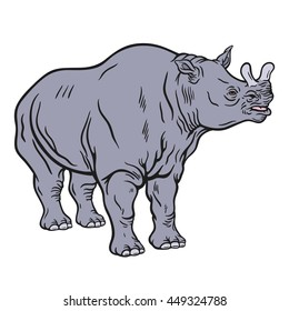 Hand drawn detailed illustration of a standing brontotherium. High quality anatomic and realistic image. Colored picture. Megacerops.