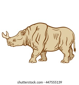 Hand drawn detailed illustration of a walking brontotherium. High quality anatomic and realistic image. Colored picture. Megacerops.