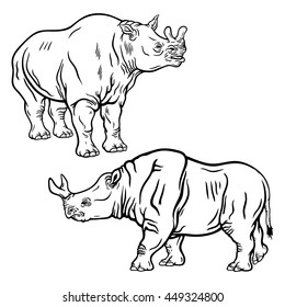 Hand drawn detailed set of brontotheriums' illustrations. High quality anatomic and realistic image. Black and white picture. Megacerops.