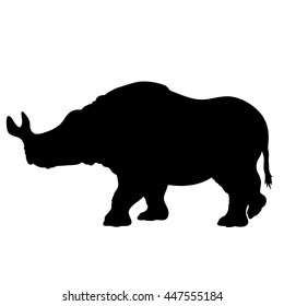 Hand drawn detailed stencil of a walking brontheterium. High quality anatomic and realistic image. Black and white picture. Megacerops.
