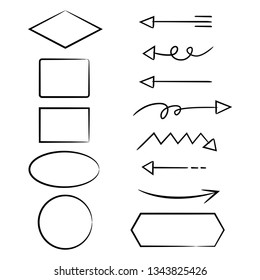 hand drawn diagram template elements, arrows, circle, oval and rectangle