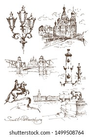 Hand drawn different landmarks of Saint Petersburg. Church of the Savior on Blood, the Rostral Columns, the Admiralty embankment, Peter the Great Bridge and The Bronze Horseman.