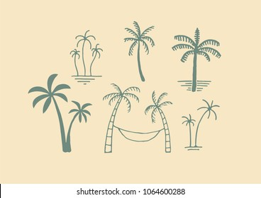 Hand drawn different palm tree logos.