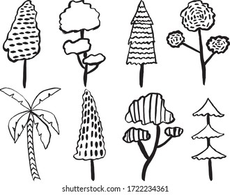 Hand Drawn Different Type Of Tree Set Isolated Vector Illustration. Hand Drawn Tree Set.