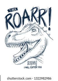 Hand Drawn dinosaur vector illustration with cool slogans. For t-shirt prints and other uses.