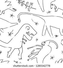 Hand drawn dinosaurs and relict plants. Funny doodle cartoon dino seamless pattern for wrapping paper, background fill, kids textile. Sketch Jurassic reptiles. Vector illustration