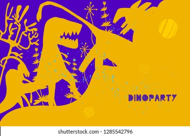 Hand drawn dinosaurs and relict plants with lettering. Jurassic reptiles flat character. Fantasy dino party invitation, flyer, banner concept. Vector illustration