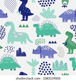 Hand Drawn Dinosaurs Seamless Pattern. Creative Childish Background with Cute Dino for Fabric, Textile, Wallpaper, Decoration, Prints. Vector illustration