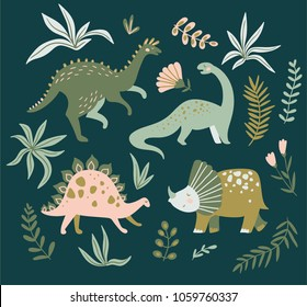Hand drawn dinosaurs,  tropical leaves and flowers. Cute dino design elements. Vector illustration.