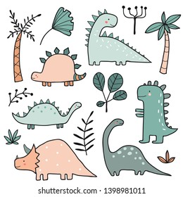 Hand drawn dinosaurs and tropical plants, palm tree, leaves. Cute funny cartoon dino collection. Hand drawn vector set for kids design. Vector colorful illustration with animals. Jurassic Period
