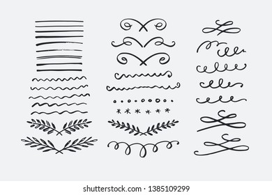 Hand drawn dividers set. Collection of vector borders, swirls, flourishes
