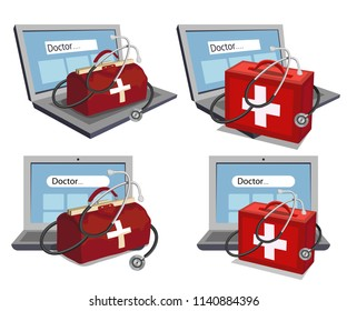 Hand Drawn Doctor. Cartoon paramedic character. Doctor with stethoscope. Health Care patch. Online Doctor concept. Vector artwork