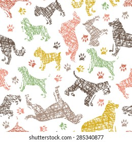Hand drawn dog breeds fresh seamless pattern. All objects are conveniently grouped and are easily editable