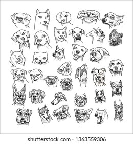 Hand drawn of dogs head set isolated on white background. Caricature cartoon of dogs, vector illustration.