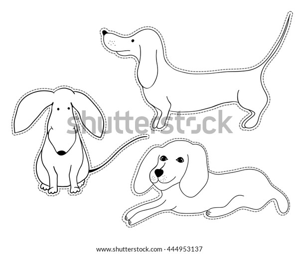 Hand Drawn Dogs Kid Coloring Book Stock Vector (Royalty Free ...
