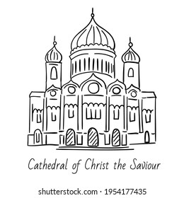 Hand drawn doodel sketch of Moscow landmarks.  Cathedral of Christ the Saviour. Black line on white background