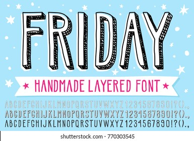 Hand drawn doodle 3d outline font. Fun simple layered vector alphabet. This vector font allow you to create a lot of great works such as posters, magazines, printings, web hand drawn  typography etc.