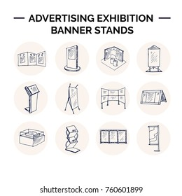 Hand drawn doodle advertising exhibition banner stands set. Vector illustration. Isolated elements Symbol collection.