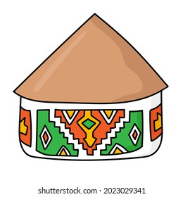 Hand drawn doodle african national hut. Ndebele tribal dwelling. Simple thatched roof and walls with ethnic patterns. Bright colored. Vector illustration