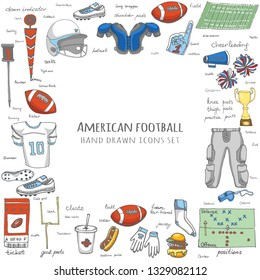 Hand drawn doodle american football set Vector illustration Sketchy sport related icons elements, ball helmet jersey pants knee thigh shoulder pads cleats field cheerleading down indicator