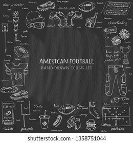Hand drawn doodle american football set Vector illustration Sketchy sport related icons football elements, ball, helmet, pants, knee, thigh, shoulder pads, cleats, field, cheerleading, cup