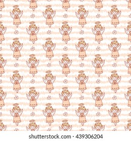Hand Drawn Doodle Angels and Stars Seamless pattern. Cute Christmas Pink background vector illustration