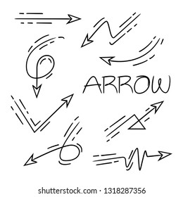 hand drawn and doodle arrows, cartoon style