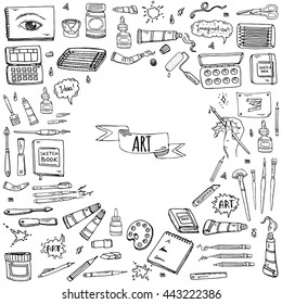 Hand drawn doodle Art and Craft tools icons set Vector illustration artistic instruments symbols collection Cartoon Sketch Brush Watercolor Paint Elements isolated on white background