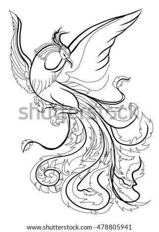 Hand Drawn Doodle Art Phoenix Tattoo Stock Vektorgrafik Lizenzfrei