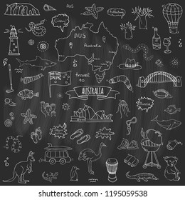 Hand drawn doodle Australia icons set Vector illustration isolated symbols collection of australian symbols Cartoon elements: map, flag, opera house, bbq, kangaroo, bridge, coral reef, snake, shark