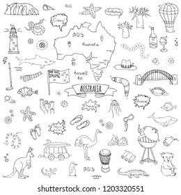 Hand drawn doodle Australia icons set Vector illustration isolated symbols collection of australian symbols Cartoon elements: map, flag, opera house, bbq, kangaroo, bridge, coral reef, snake, shark