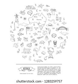Hand drawn doodle Australia icons set Vector illustration isolated symbols collection of australian symbols Cartoon elements: flag, bbq, kangaroo, bridge, coral reef, snake, shark, ostrich, lighthouse