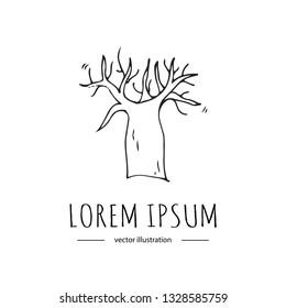 Hand drawn doodle baobab tree icon Vector illustration plant isolated on white background Australian national symbol Cartoon element Line art Wood silhouette