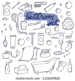Hand drawn doodle Bathroom set. Vector illustration.