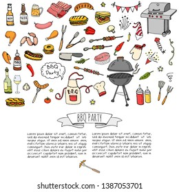Hand drawn doodle BBQ party icons set Vector illustration summer barbecue symbols collection Cartoon various meals, drinks, ingredients and decoration elements Grill Meat Sausage Sandwich Wine Sketch