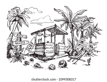 Hand drawn doodle beach illustration. Vacation banner. Beach banner