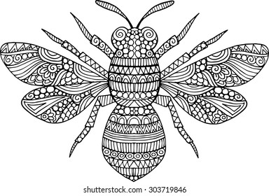 Hand drawn doodle bee illustration. Decorative outline ornate bee drawing with decorative ornaments