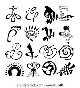 Hand drawn doodle big logo set. Concept logo